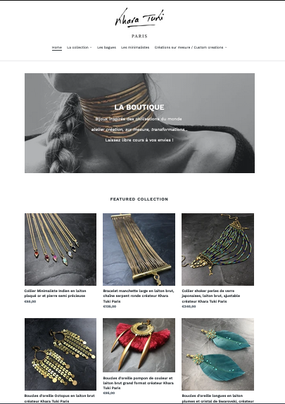 Page de la boutique en ligne Khara Tuki Paris