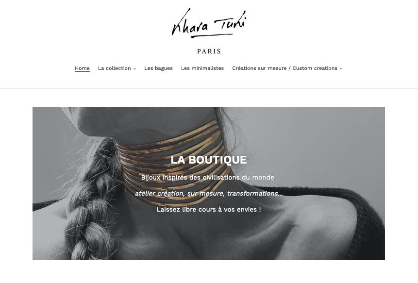 Page d'accueil du e-shop Khara Tuki Paris