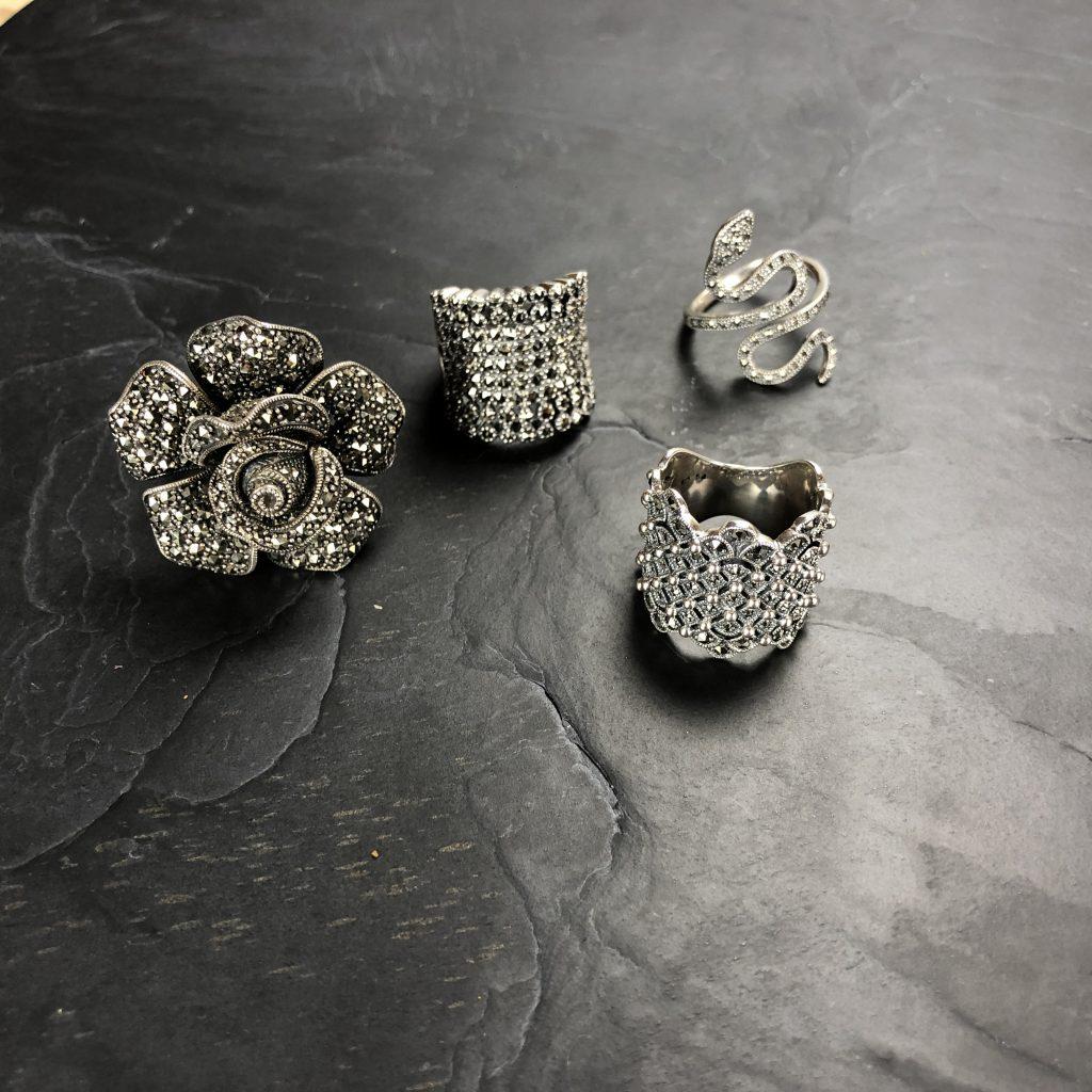 Bagues argent rétro et pierres semi précieuses